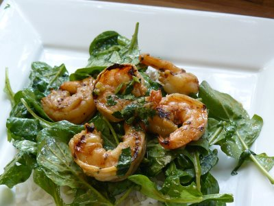 Grilled Shrimp Salad over Spinach